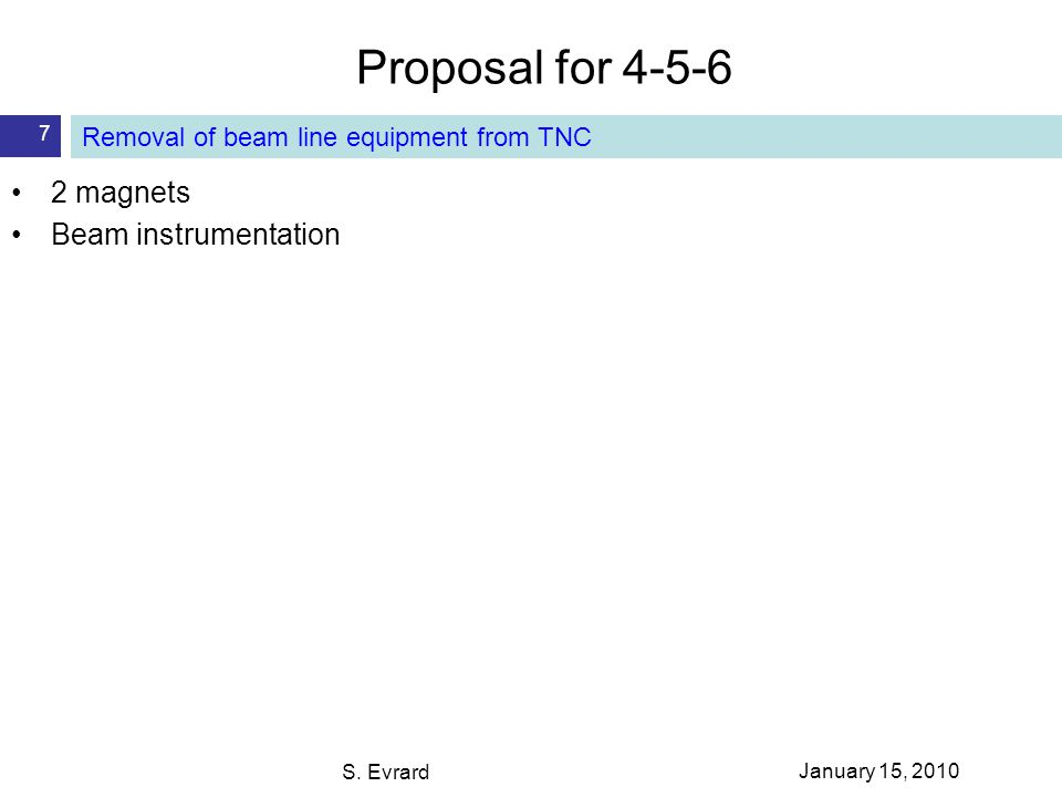 Proposal for 4-5-6 S. Evrard 7 Removal of beam line equipment from TNC 2 magnets Beam instrumentation January 15, 2010
