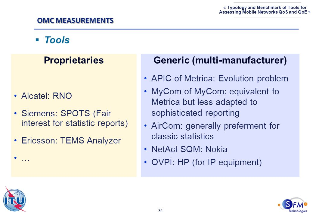 35 « Typology and Benchmark of Tools for Assessing Mobile Networks QoS and QoE » Proprietaries Alcatel: RNO Siemens: SPOTS (Fair interest for statistic reports) Ericsson: TEMS Analyzer … Generic (multi-manufacturer) APIC of Metrica: Evolution problem MyCom of MyCom: equivalent to Metrica but less adapted to sophisticated reporting AirCom: generally preferment for classic statistics NetAct SQM: Nokia OVPI: HP (for IP equipment) OMC MEASUREMENTS  Tools