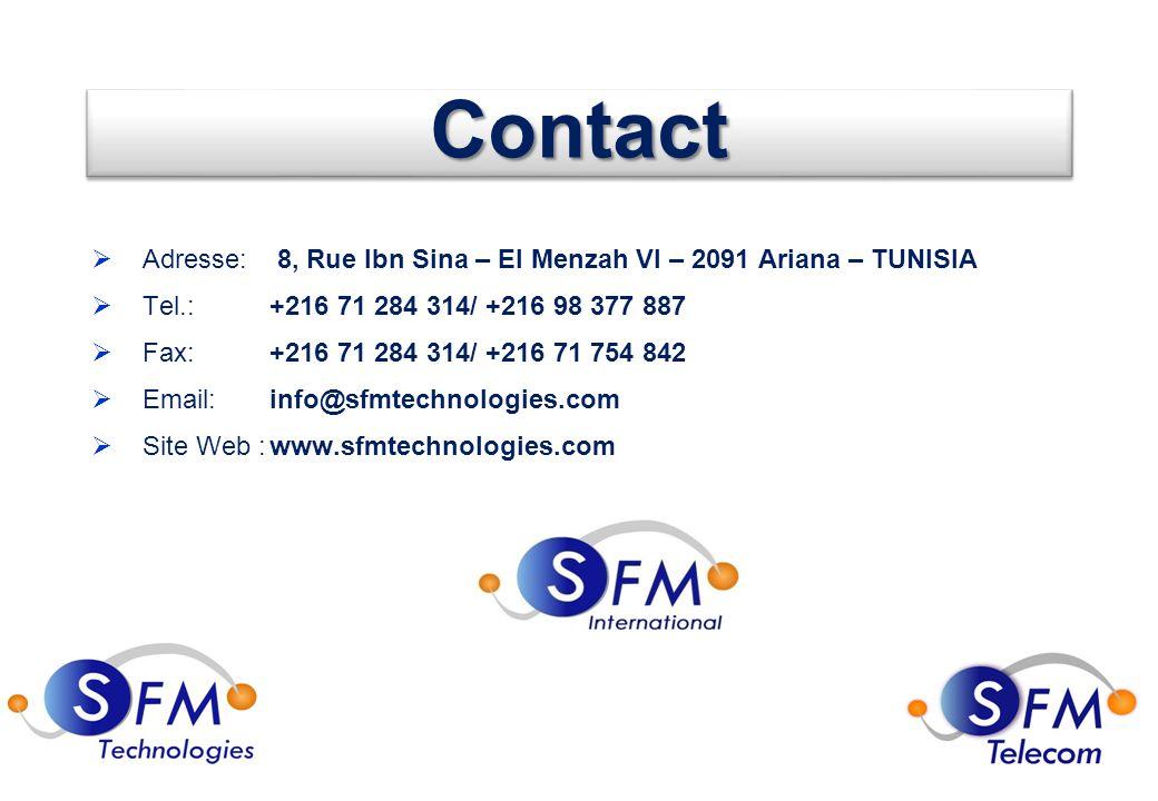 56 ContactContact  Adresse: 8, Rue Ibn Sina – El Menzah VI – 2091 Ariana – TUNISIA  Tel.:+216 71 284 314/ +216 98 377 887  Fax:+216 71 284 314/ +216 71 754 842  Email:info@sfmtechnologies.com  Site Web :www.sfmtechnologies.com