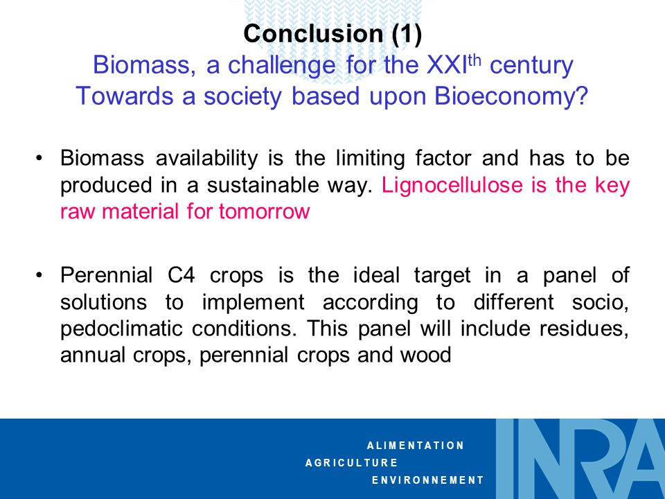 A L I M E N T A T I O N A G R I C U L T U R E E N V I R O N N E M E N T Conclusion (1) Biomass, a challenge for the XXI th century Towards a society based upon Bioeconomy.