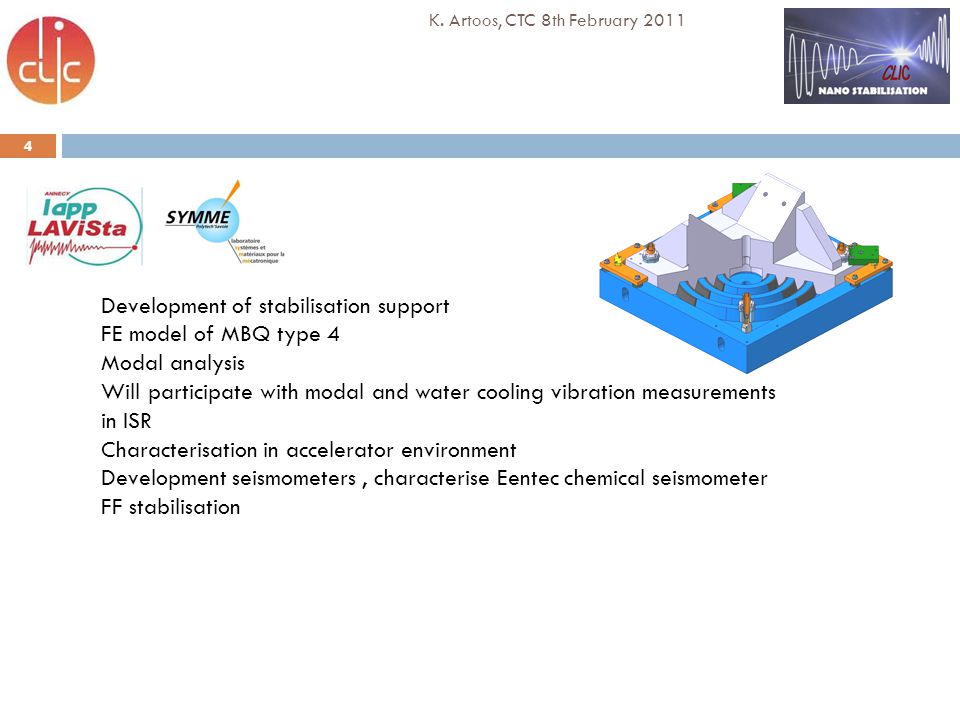 4 K. Artoos, CTC 8th February 2011 Development of stabilisation support FE model of MBQ type 4 Modal analysis Will participate with modal and water co