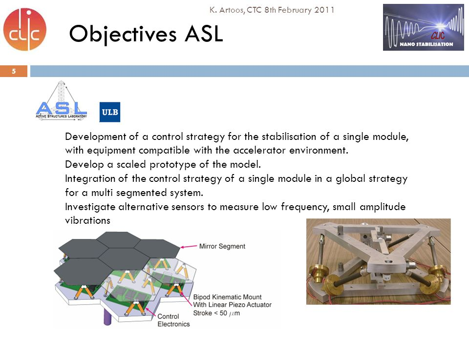 5 K. Artoos, CTC 8th February 2011 Objectives ASL Development of a control strategy for the stabilisation of a single module, with equipment compatibl
