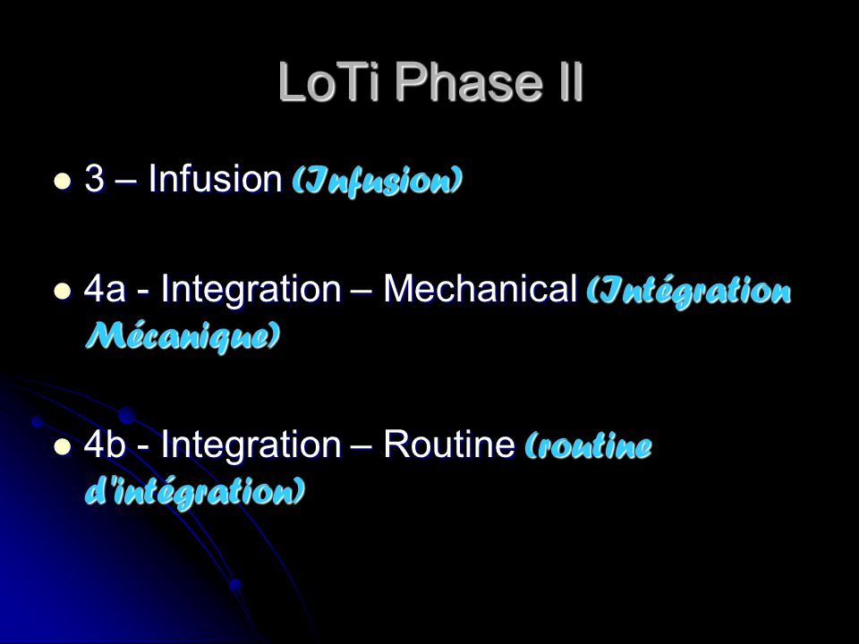 LoTi Phase II 3 – Infusion (Infusion) 3 – Infusion (Infusion) 4a - Integration – Mechanical (Intégration Mécanique) 4a - Integration – Mechanical (Int