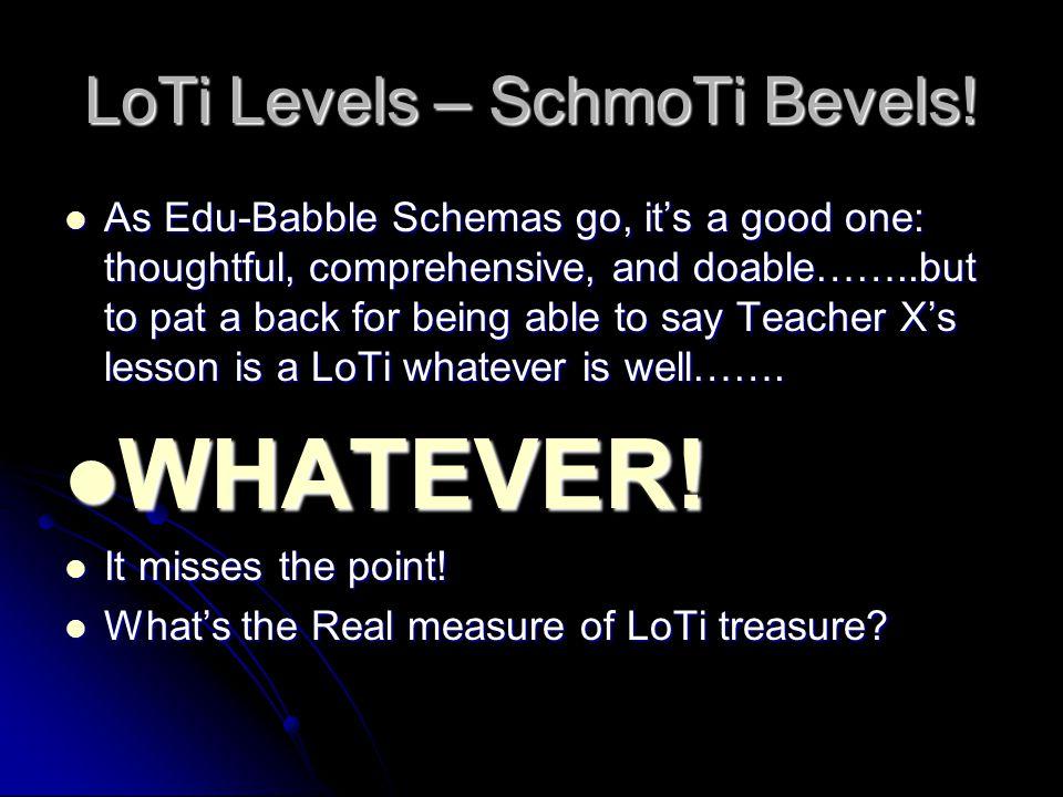 LoTi Levels – SchmoTi Bevels.