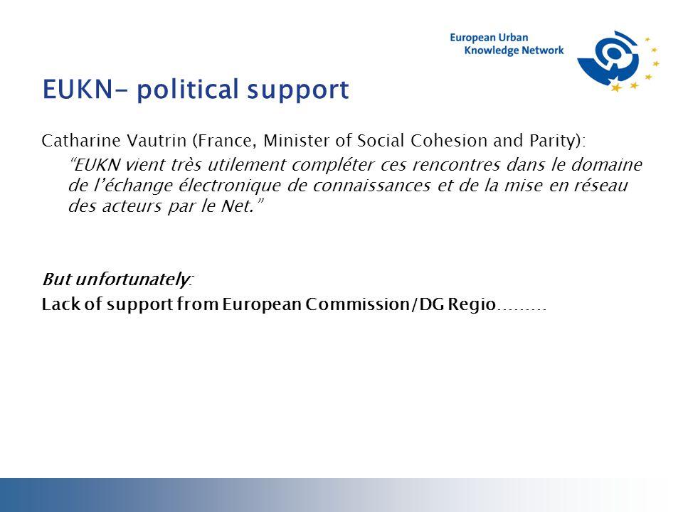 EUKN- political support Catharine Vautrin (France, Minister of Social Cohesion and Parity): EUKN vient très utilement compléter ces rencontres dans le domaine de l'échange électronique de connaissances et de la mise en réseau des acteurs par le Net. But unfortunately: Lack of support from European Commission/DG Regio………