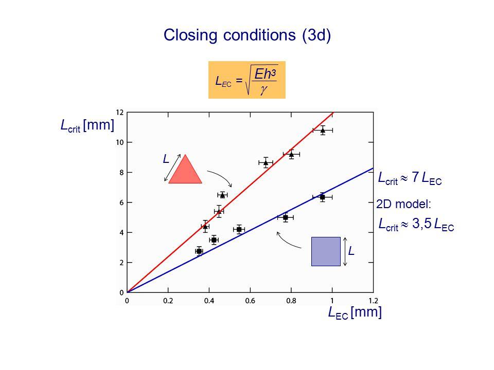 Closing conditions (3d) L EC [mm] L crit [mm] L L L crit  7 L EC 2D model: L crit  3,5 L EC L EC =  Eh 3