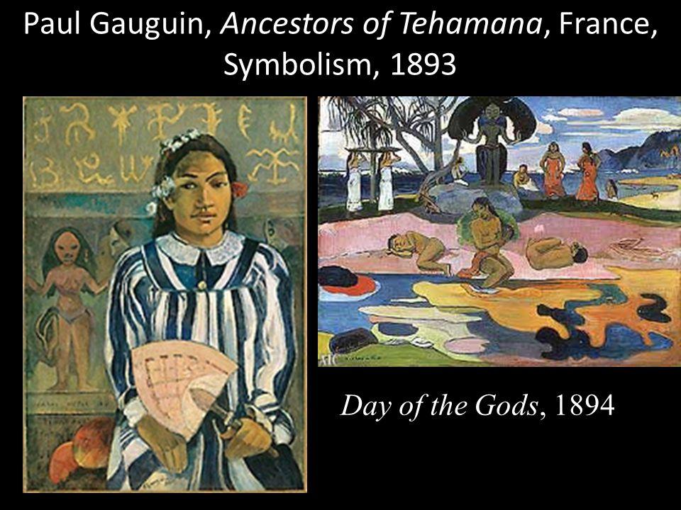 Paul Gauguin, Ancestors of Tehamana, France, Symbolism, 1893 Day of the Gods, 1894