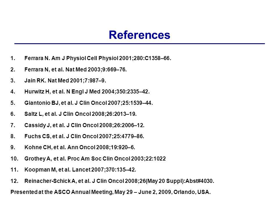 References 1.Ferrara N. Am J Physiol Cell Physiol 2001;280:C1358–66.