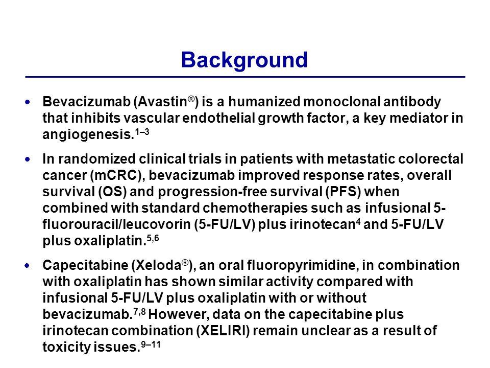 Tolerability All 145 patients were evaluable for safety (bevacizumab + XELIRI n=72; bevacizumab + FOLFIRI n=73).