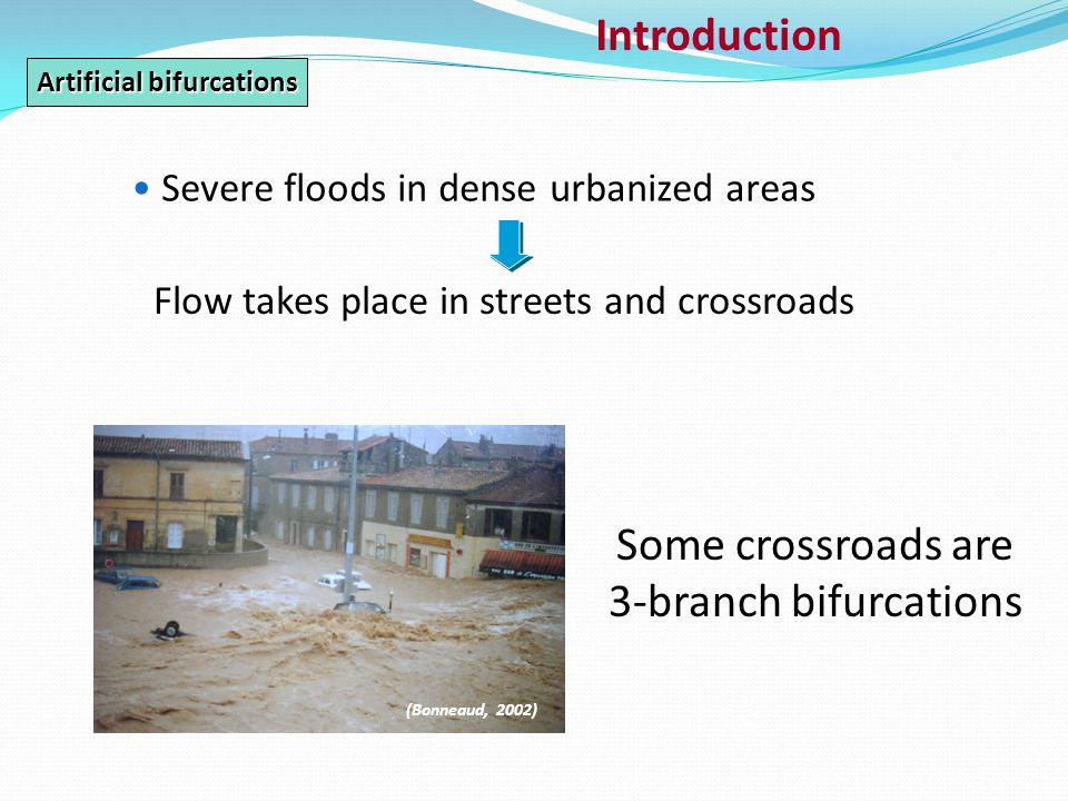 Introduction Severe floods in dense urbanized areas Flow takes place in streets and crossroads (Bonneaud, 2002) Artificial bifurcations Some crossroads are 3-branch bifurcations