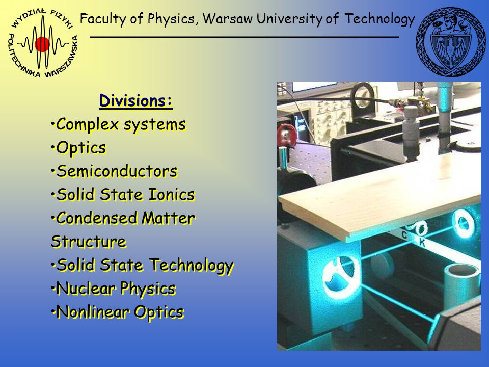 Faculty of Physics, Warsaw University of Technology Divisions: Complex systems Optics Semiconductors Solid State Ionics Condensed Matter Structure Solid State Technology Nuclear Physics Nonlinear Optics Divisions: Complex systems Optics Semiconductors Solid State Ionics Condensed Matter Structure Solid State Technology Nuclear Physics Nonlinear Optics