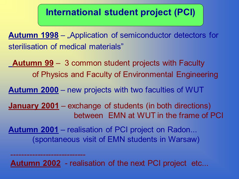 "International student project (PCI) Autumn 1998 – ""Application of semiconductor detectors for sterilisation of medical materials Autumn 2000 – new projects with two faculties of WUT Autumn 2001 – realisation of PCI project on Radon..."