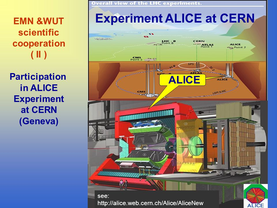 see: http://alice.web.cern.ch/Alice/AliceNew Experiment ALICE at CERN ALICE EMN &WUT scientific cooperation ( II ) Participation in ALICE Experiment at CERN (Geneva)
