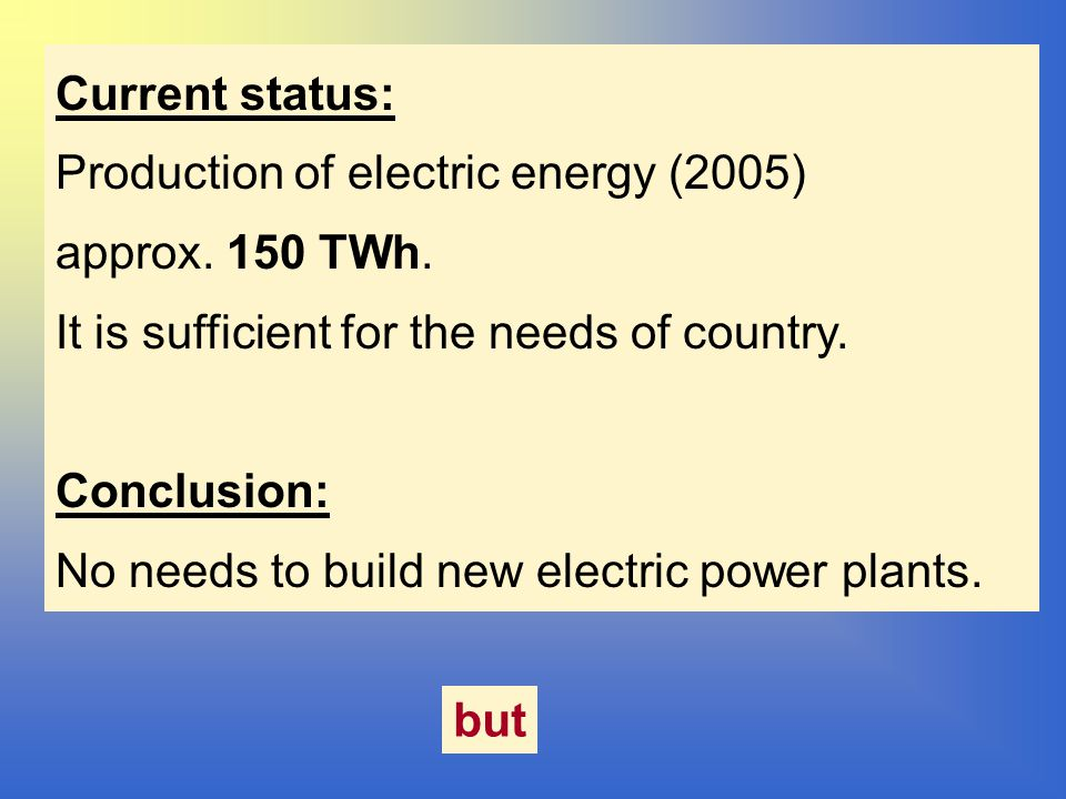 Current status: Production of electric energy (2005) approx.