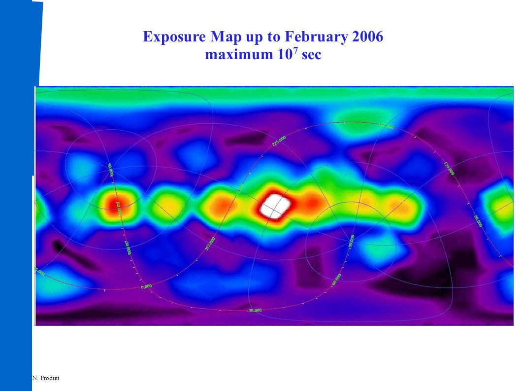 Exposure Map up to February 2006 maximum 10 7 sec N. Produit