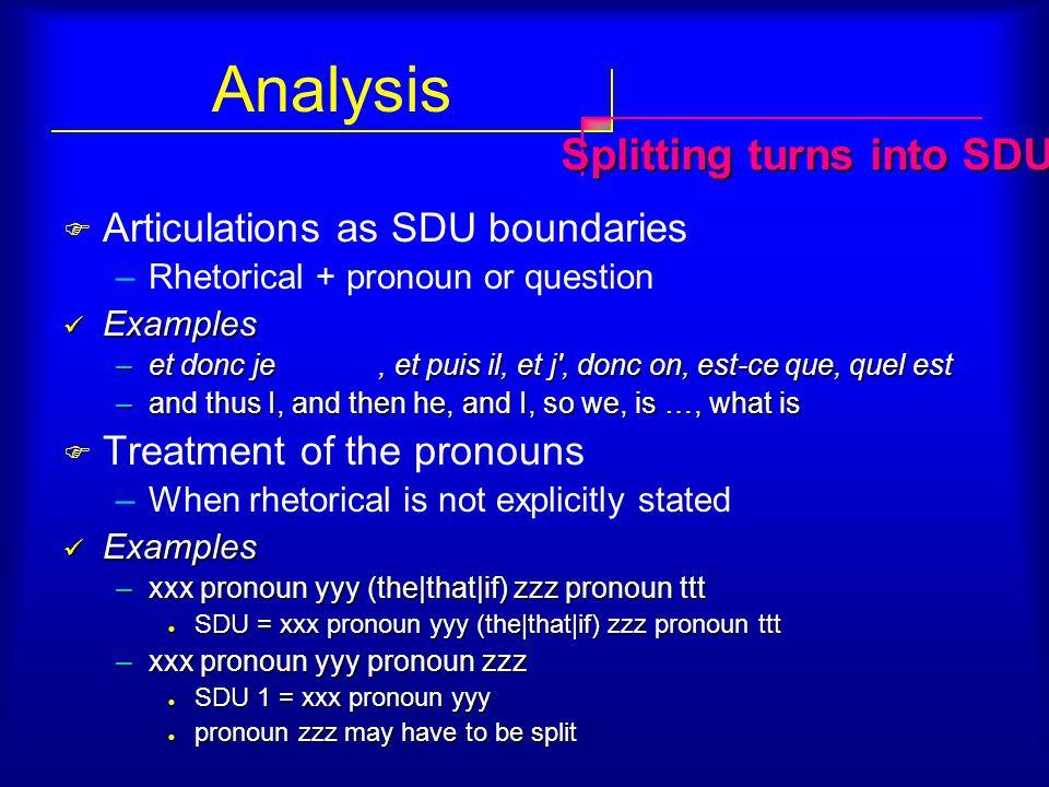 Analysis  Articulations as SDU boundaries –Rhetorical + pronoun or question Examples Examples –et donc je, et puis il, et j', donc on, est-ce que, qu