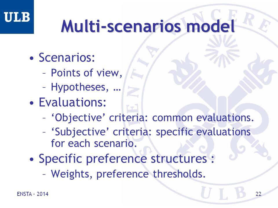 ENSTA - 2014 22 Multi-scenarios model Scenarios: –Points of view, –Hypotheses, … Evaluations: –'Objective' criteria: common evaluations.