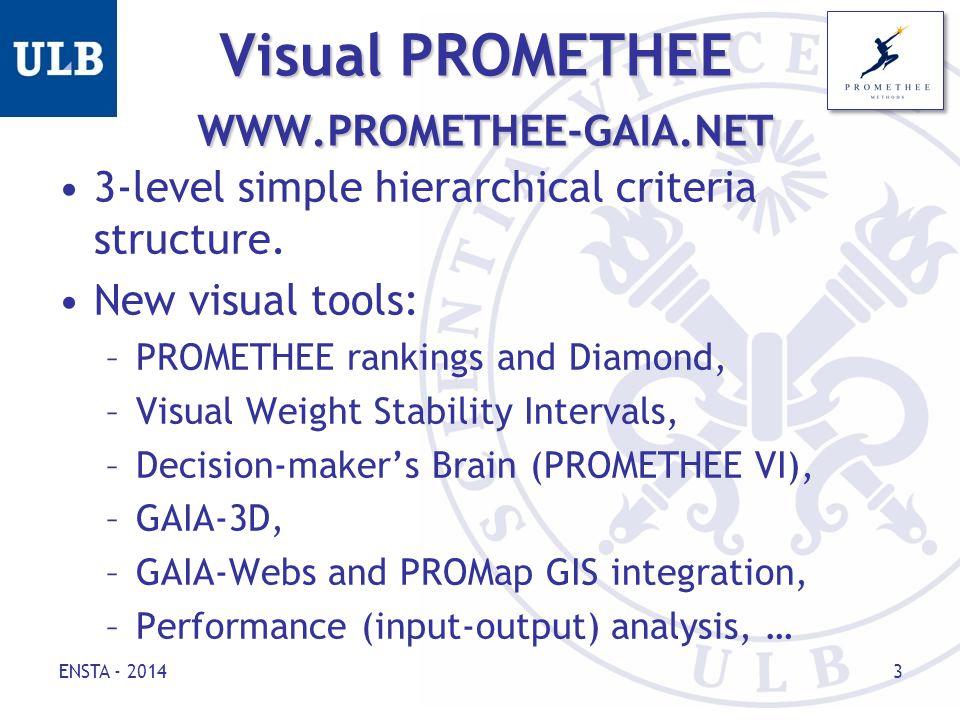 Visual PROMETHEE WWW.PROMETHEE-GAIA.NET 3-level simple hierarchical criteria structure.