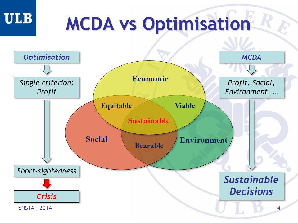 MCDA vs Optimisation ENSTA - 2014 4 Social Environment Economic Equitable Sustainable Bearable Viable Optimisation MCDA Single criterion: Profit Single criterion: Profit Profit, Social, Environment, … Short-sightedness Crisis Sustainable Decisions