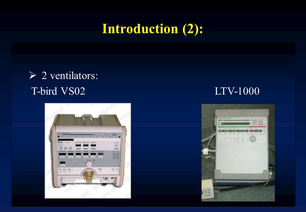 Introduction (2):  2 ventilators: T-bird VS02 LTV-1000