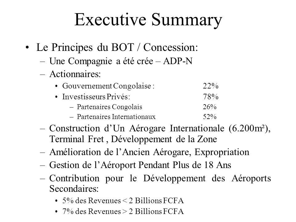 Executive Summary Le Principes du BOT / Concession: –Une Compagnie a été crée – ADP-N –Actionnaires: Gouvernement Congolaise : 22% Investisseurs Privés:78% –Partenaires Congolais 26% –Partenaires Internationaux52% –Construction d'Un Aérogare Internationale (6.200m²), Terminal Fret, Développement de la Zone –Amélioration de l'Ancien Aérogare, Expropriation –Gestion de l'Aéroport Pendant Plus de 18 Ans –Contribution pour le Développement des Aéroports Secondaires: 5% des Revenues < 2 Billions FCFA 7% des Revenues > 2 Billions FCFA