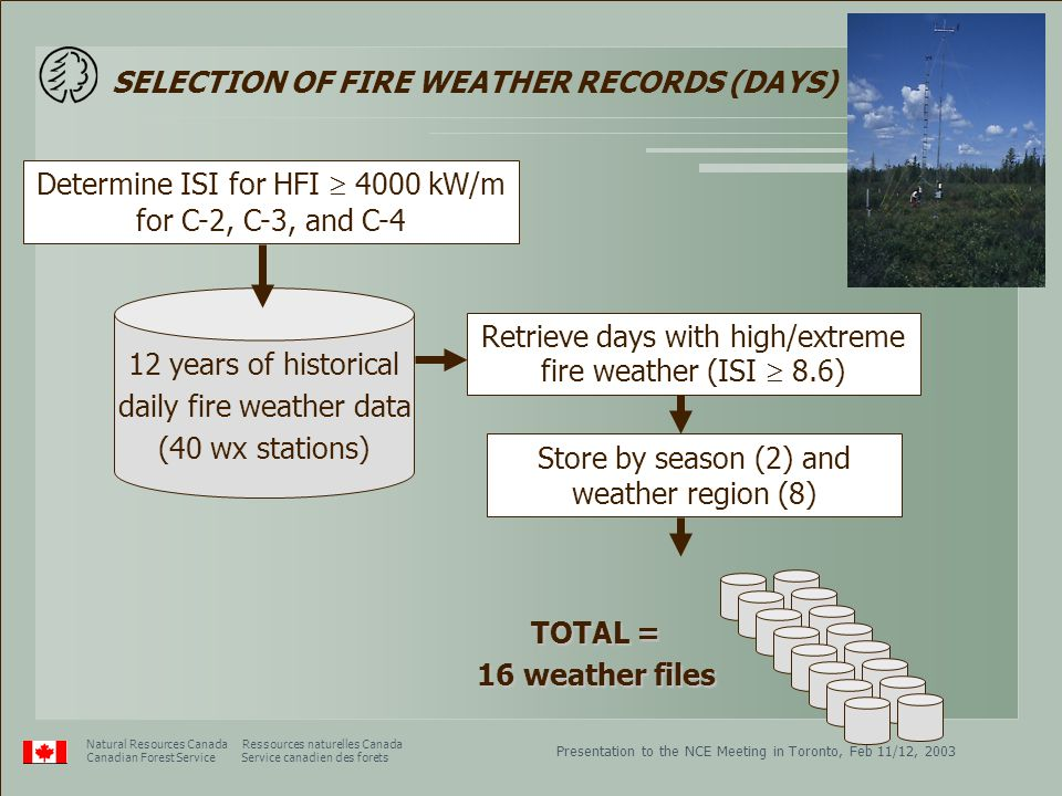 Presentation to the NCE Meeting in Toronto, Feb 11/12, 2003 Natural Resources Canada Ressources naturelles Canada Canadian Forest Service Service canadien des forets SELECTION OF FIRE WEATHER RECORDS (DAYS) Determine ISI for HFI  4000 kW/m for C-2, C-3, and C-4 12 years of historical daily fire weather data (40 wx stations) Store by season (2) and weather region (8) TOTAL = 16 weather files Retrieve days with high/extreme fire weather (ISI  8.6)