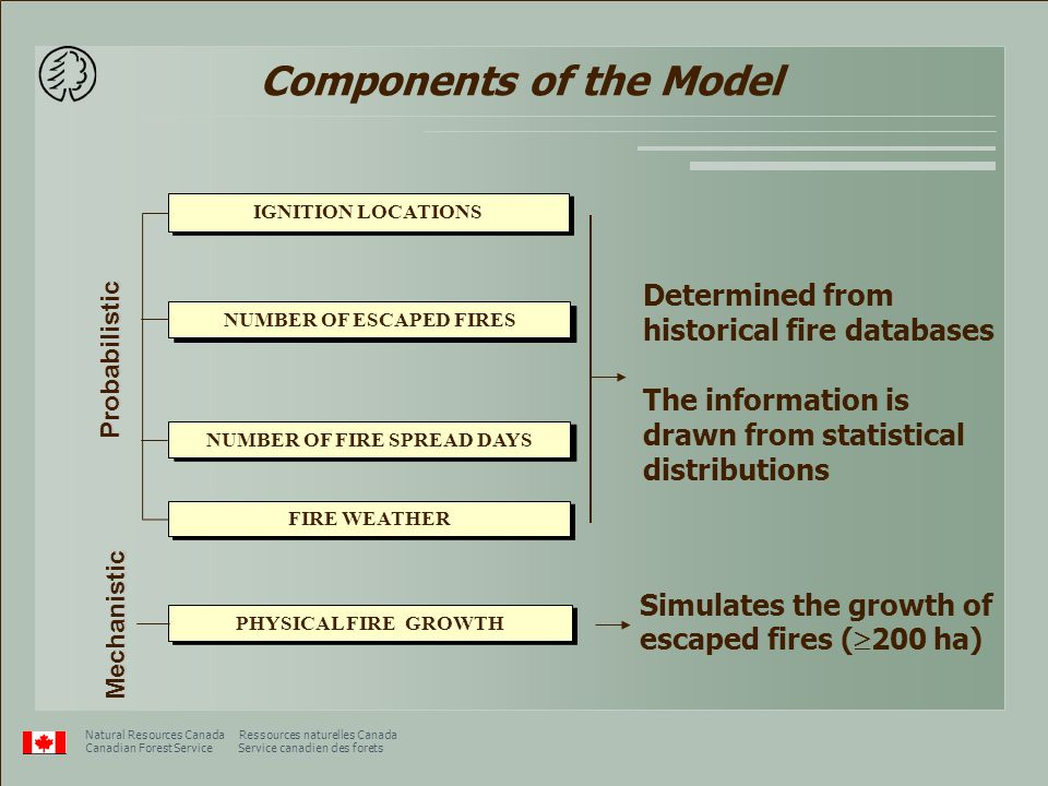 Presentation to the NCE Meeting in Toronto, Feb 11/12, 2003 Natural Resources Canada Ressources naturelles Canada Canadian Forest Service Service canadien des forets Components of the Model PHYSICAL FIRE GROWTH Determined from historical fire databases The information is drawn from statistical distributions Simulates the growth of escaped fires (  200 ha) Mechanistic FIRE WEATHER NUMBER OF ESCAPED FIRES NUMBER OF FIRE SPREAD DAYS IGNITION LOCATIONS Probabilistic