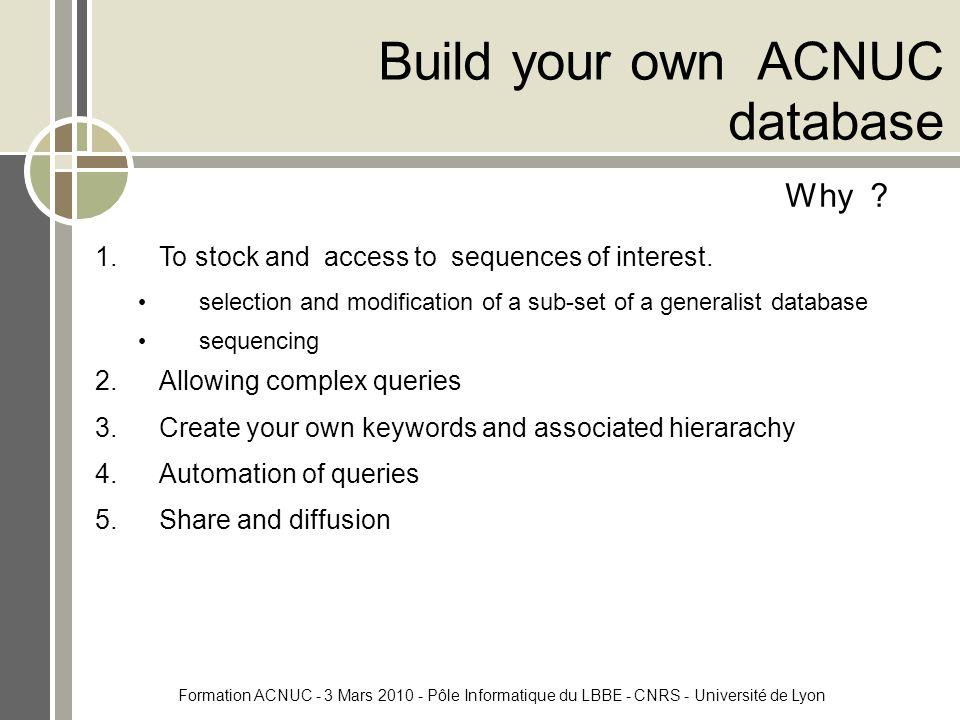 Formation ACNUC - 3 Mars 2010 - Pôle Informatique du LBBE - CNRS - Université de Lyon Build your own ACNUC database Why .