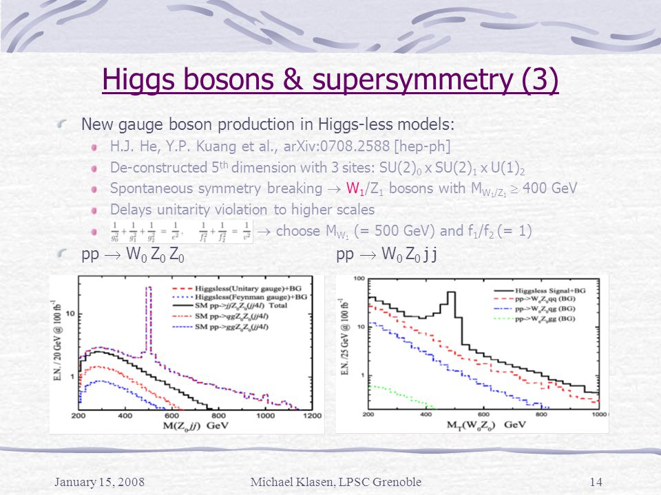 January 15, 2008Michael Klasen, LPSC Grenoble14 Higgs bosons & supersymmetry (3) New gauge boson production in Higgs-less models: H.J. He, Y.P. Kuang