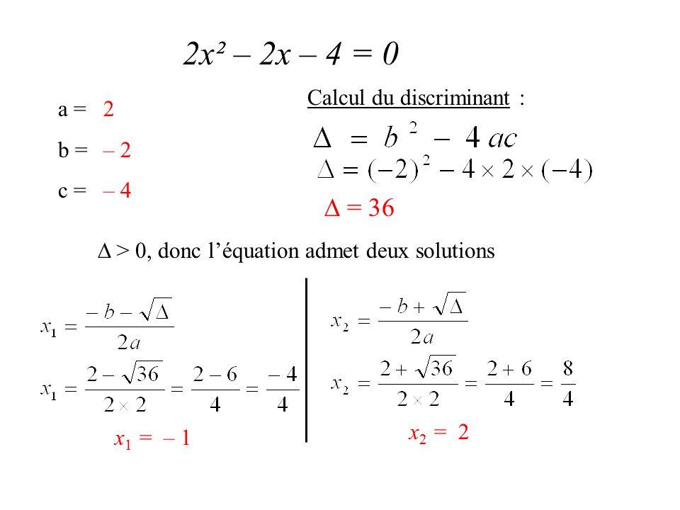 2x² – 2x – 4 = 0 a = b = c = 2 – 2 – 4 Calcul du discriminant :  = 36  > 0, donc l'équation admet deux solutions x 1 = – 1 x 2 = 2