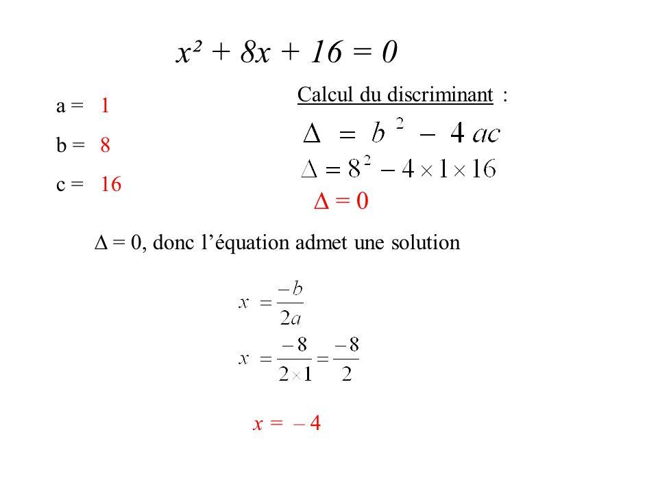 x² + 8x + 16 = 0 a = b = c = 1 8 16 Calcul du discriminant :  = 0  = 0, donc l'équation admet une solution x = – 4
