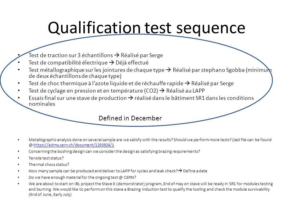 Qualification test sequence Test de traction sur 3 échantillons  Réalisé par Serge Test de compatibilité électrique  Déjà effectué Test métallographique sur les jointures de chaque type  Réalisé par stephano Sgobba (minimum de deux échantillons de chaque type) Test de choc thermique à l'azote liquide et de réchauffe rapide  Réalisé par Serge Test de cyclage en pression et en température (CO2)  Réalisé au LAPP Essais final sur une stave de production  réalisé dans le bâtiment SR1 dans les conditions nominales Defined in December Metallographic analysis done on several sample are we satisfy with the results.