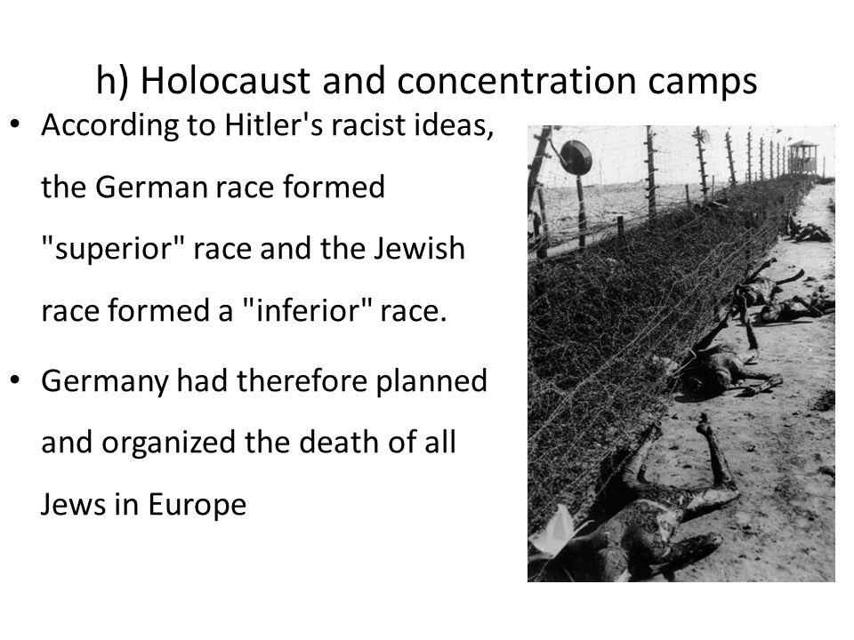 h) Holocaust and concentration camps Toute personne de la communauté juive trouvée par les Allemands fut amenée dans des camps de concentration Ces camps furent découverts en Allemagne et en Pologne surtout