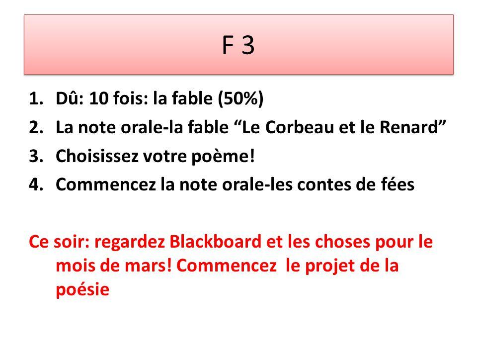 F 3 1.Dû: 10 fois: la fable (50%) 2.La note orale-la fable Le Corbeau et le Renard 3.Choisissez votre poème.