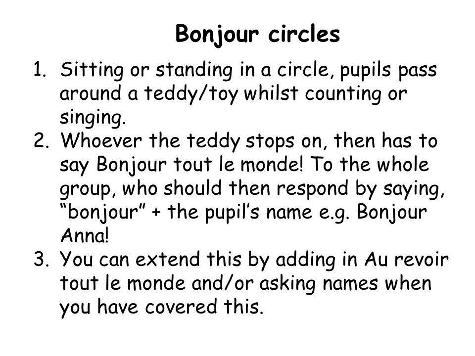 Activité 3 Bonjour circles Bonjour tout le monde!