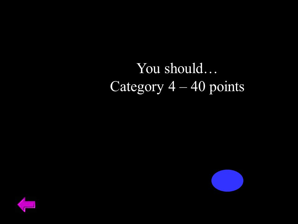 You should… Category 4 – 40 points