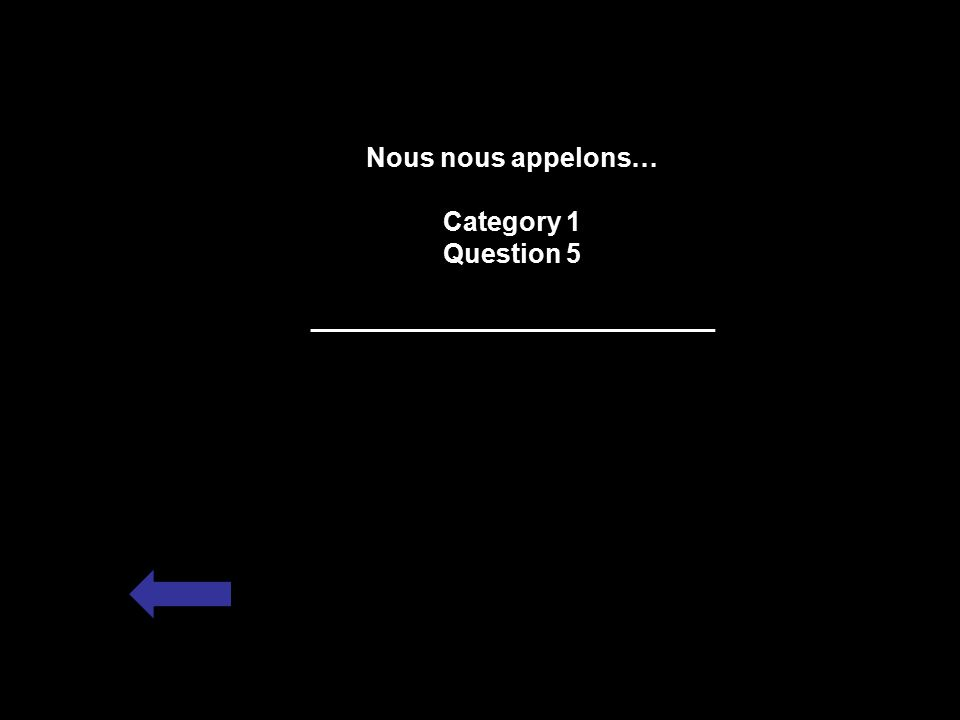Nous nous appelons… Category 1 Question 5 ___________________________