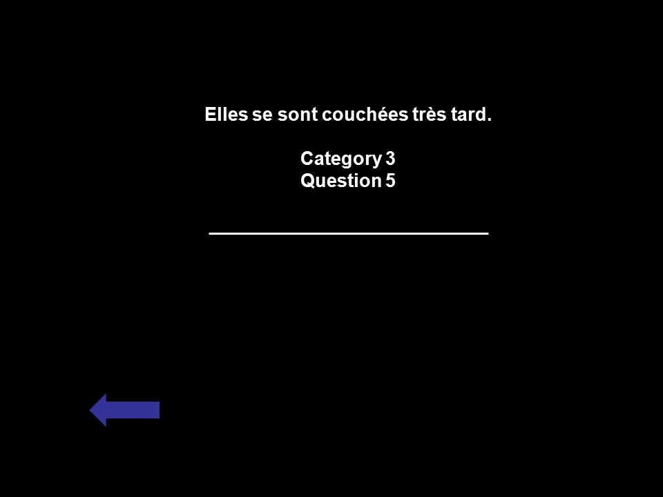 Elles se sont couchées très tard. Category 3 Question 5 ___________________________