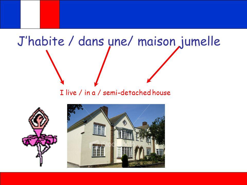 J'habite / dans une/ petite maison I live / in a / small house