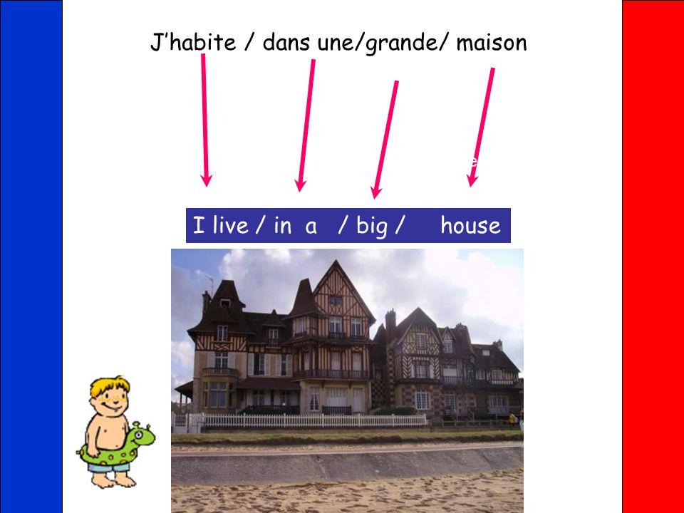 J'habite / dans une/ maison jumelle I live / in a / semi-detached house