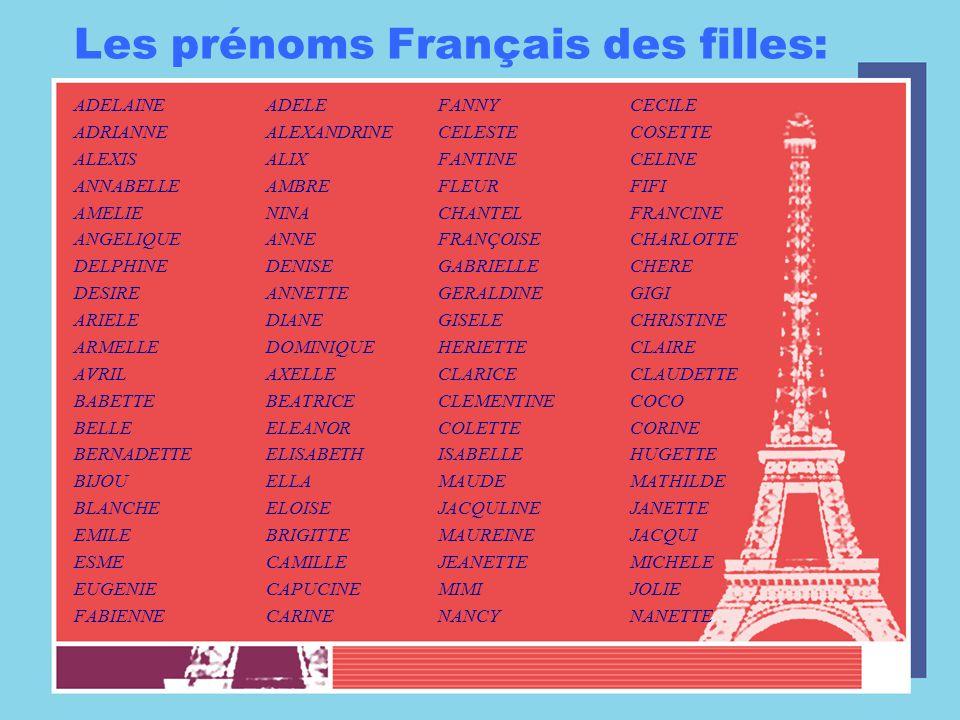 Les prénoms Français des filles: ADELAINEADELE ADRIANNEALEXANDRINE ALEXISALIX ANNABELLEAMBRE AMELIENINA ANGELIQUEANNE DELPHINEDENISE DESIREANNETTE ARI