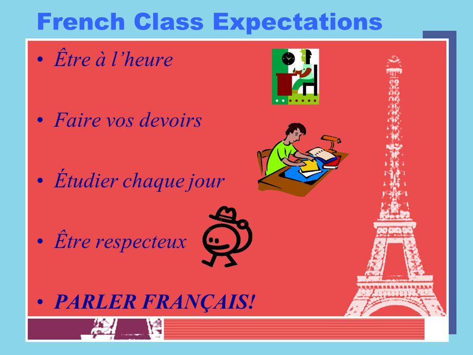 French Class Expectations Être à l'heure Faire vos devoirs Étudier chaque jour Être respecteux PARLER FRANÇAIS!