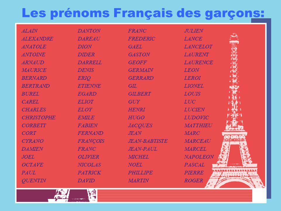 Les prénoms Français des garçons: ALAINDANTON ALEXANDREDAREAU ANATOLEDION ANTOINEDIDER ARNAUDDARRELL MAURICEDENIS BERNARDERIQ BERTRANDETIENNE BURELEGA