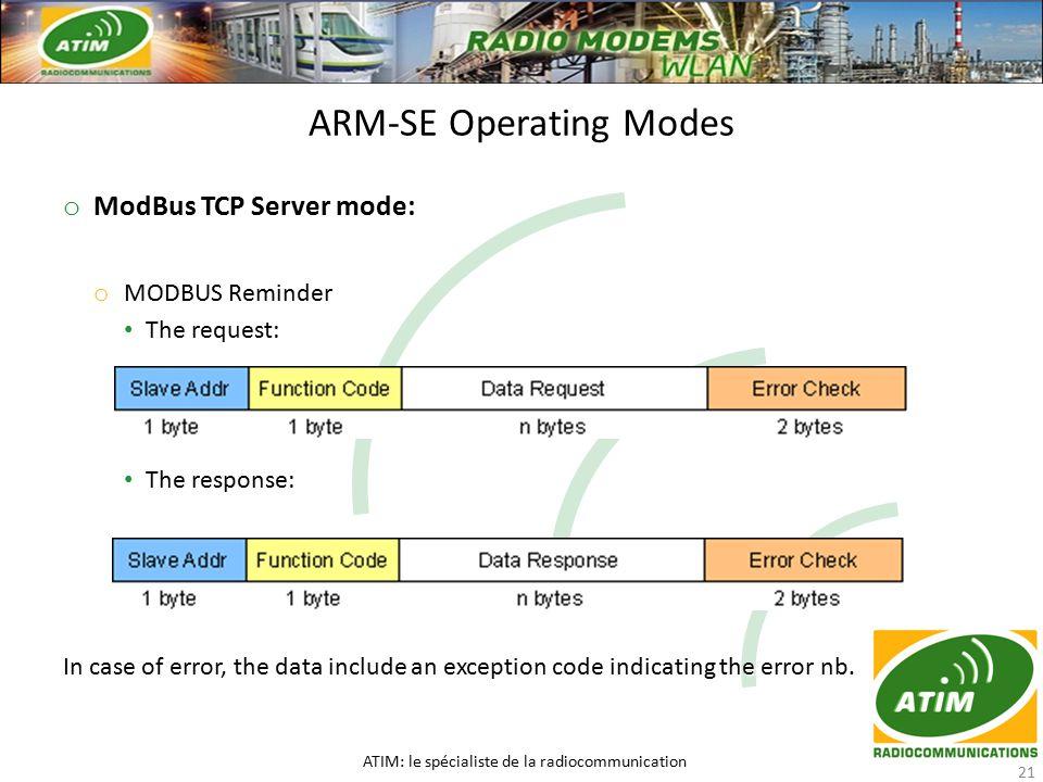 o ModBus TCP Server mode: o MODBUS Reminder The request: The request: The response: The response: In case of error, the data include an exception code