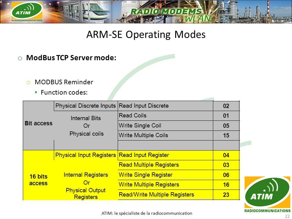 o ModBus TCP Server mode: o MODBUS Reminder Function codes: Function codes: ARM-SE Operating Modes ATIM: le spécialiste de la radiocommunication 22