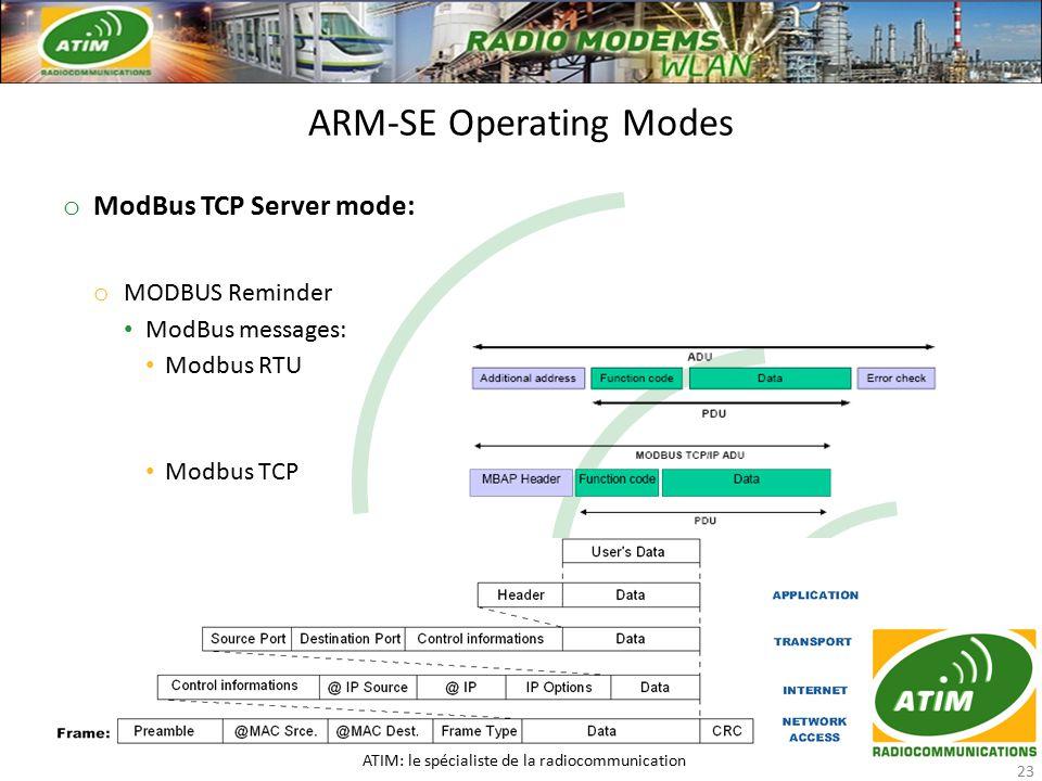 o ModBus TCP Server mode: o MODBUS Reminder ModBus messages: ModBus messages: Modbus RTU Modbus RTU Modbus TCP Modbus TCP ARM-SE Operating Modes ATIM: le spécialiste de la radiocommunication 23