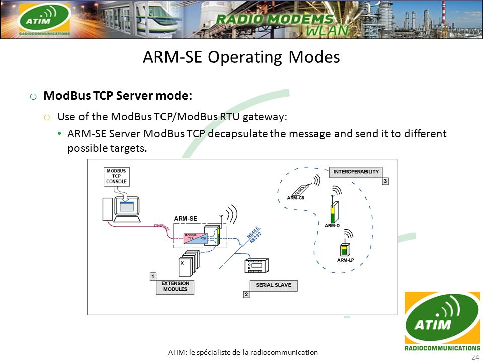 o ModBus TCP Server mode: o Use of the ModBus TCP/ModBus RTU gateway: ARM-SE Server ModBus TCP decapsulate the message and send it to different possible targets.
