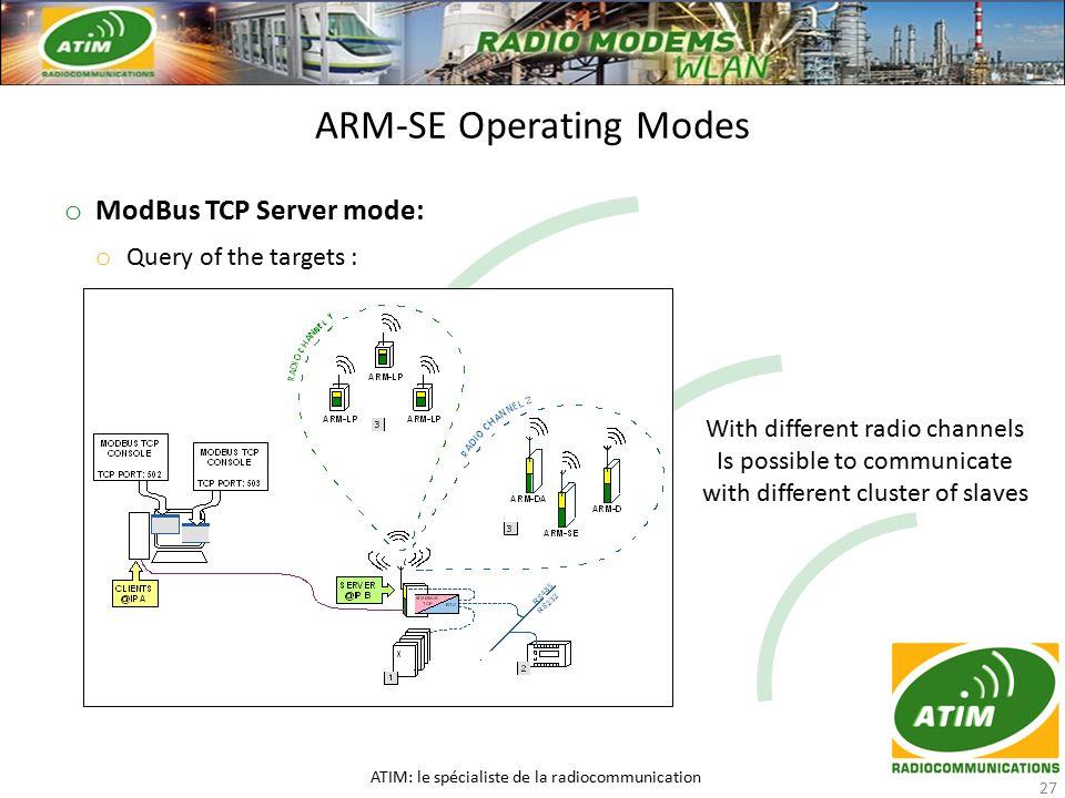 o ModBus TCP Server mode: o Query of the targets : ARM-SE Operating Modes ATIM: le spécialiste de la radiocommunication 27 With different radio channels Is possible to communicate with different cluster of slaves