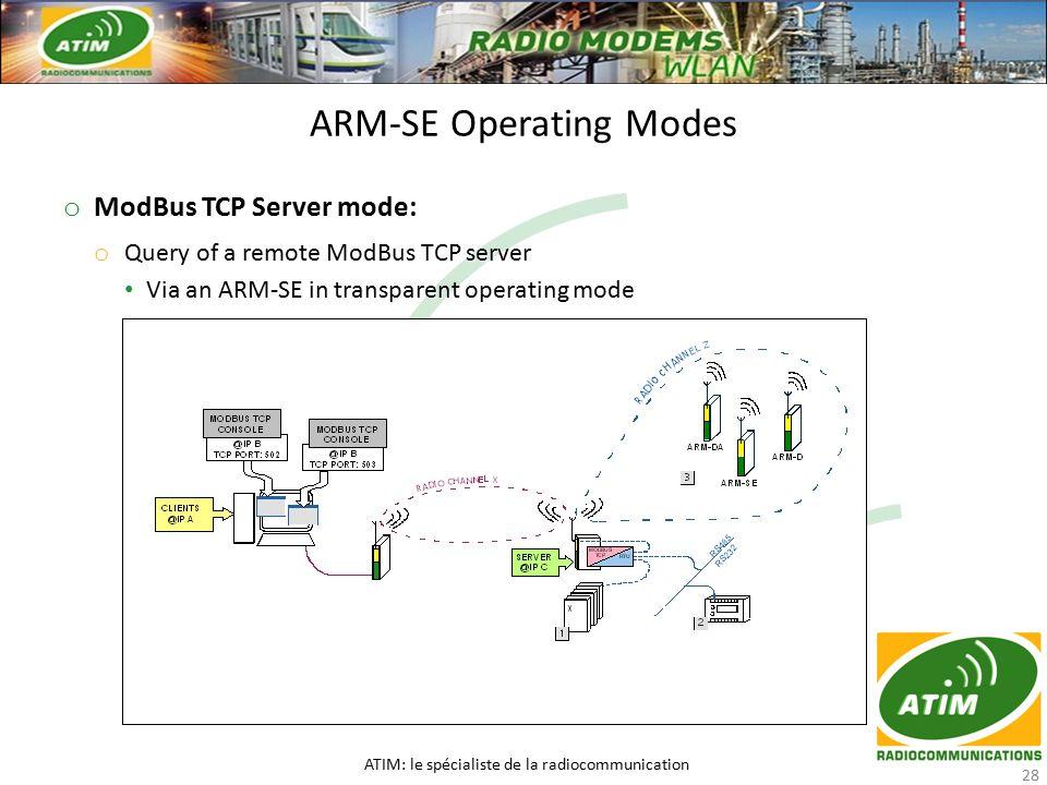 o ModBus TCP Server mode: o Query of a remote ModBus TCP server Via an ARM-SE in transparent operating mode Via an ARM-SE in transparent operating mode ARM-SE Operating Modes ATIM: le spécialiste de la radiocommunication 28