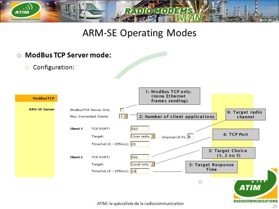 o ModBus TCP Server mode: o Configuration: ARM-SE Operating Modes ATIM: le spécialiste de la radiocommunication 29
